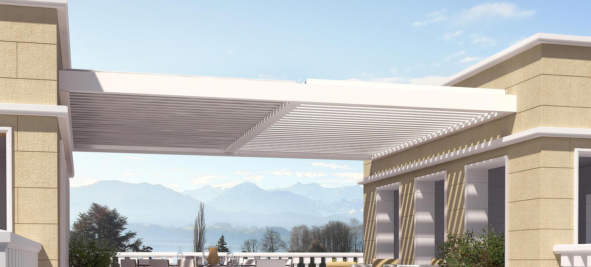 Astano TR4110 / TR4120 / TR4520 horizontale Überdachung für Laibung mit drehbaren Aluminium-Lamellen oder robuster Faltmarkise