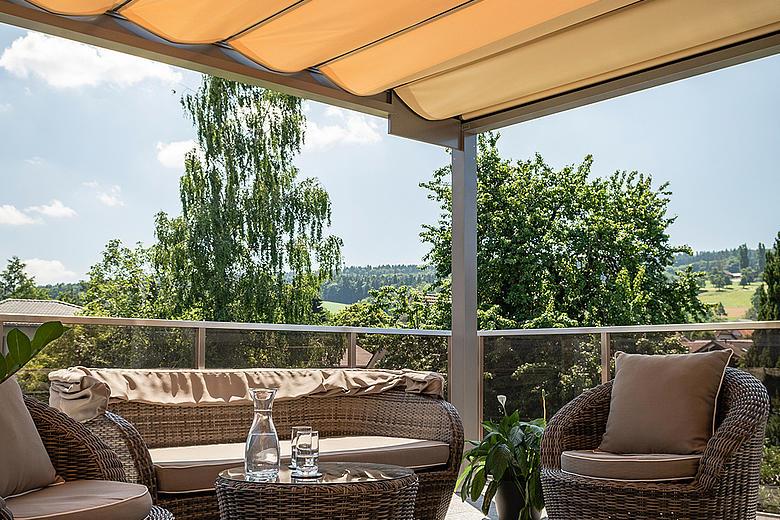 BAVONA TP6100 Pavillon mit integrierter Faltmarkise für besten Schutz gegen Hitze, UV-Strahlen und Regen