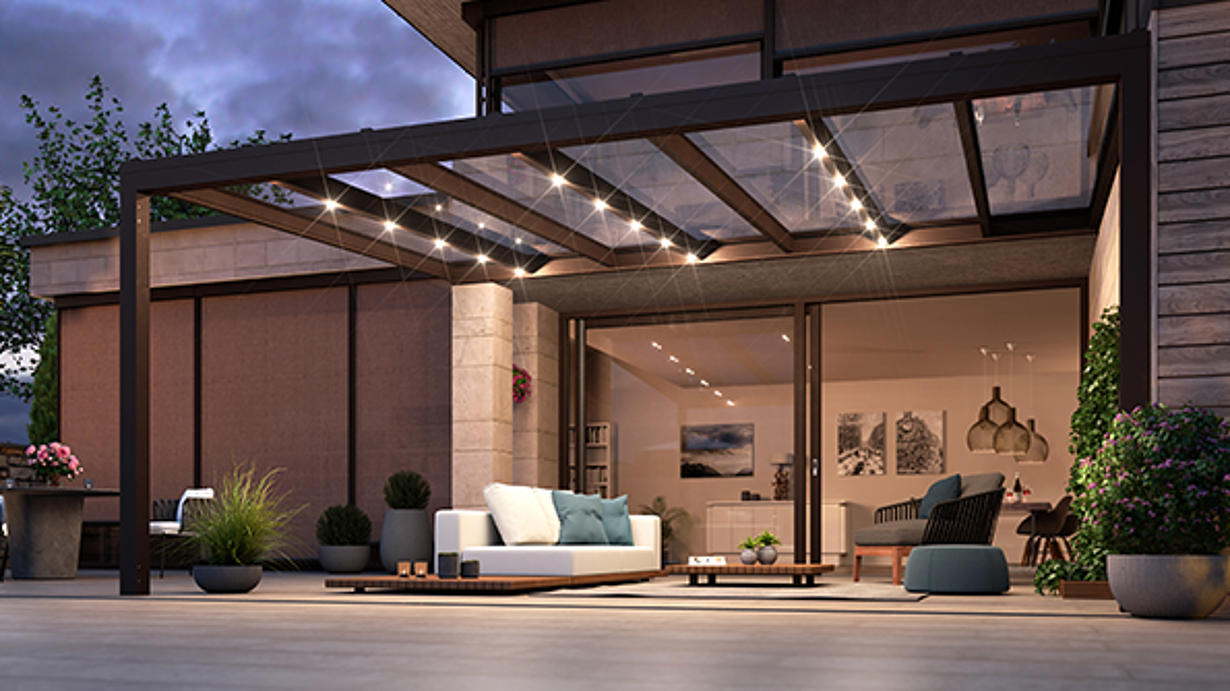 Terrassendach aus Glas für ganzjährige Nutzung