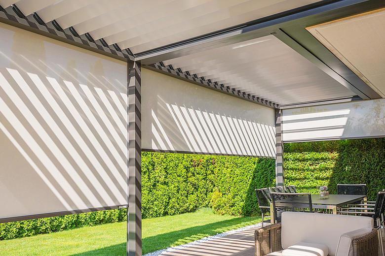 Bavona TP6500 formschöner Terrassen-Pavillon mit neigbaren Aluminium-Lamellen