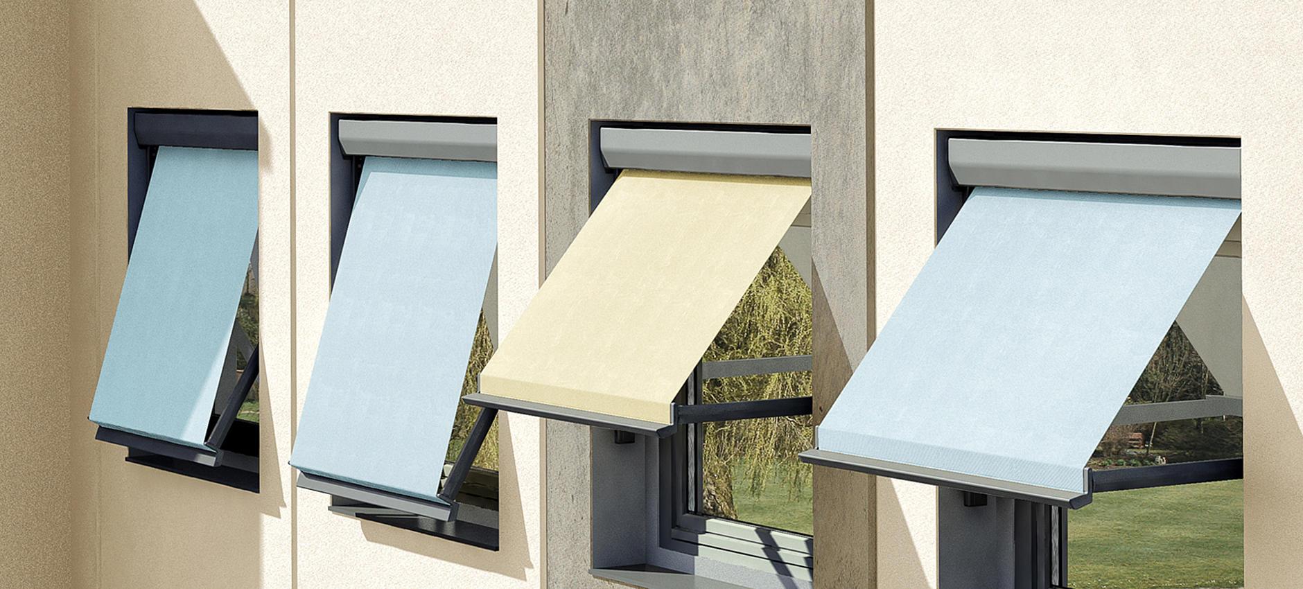 METRO-BOX FS4200-R / -E flexible Fallarmmarkise mit geringen Konstruktionsmaßen für Fensternischen, Balkone oder als Vertikalbeschattung von Wintergärten